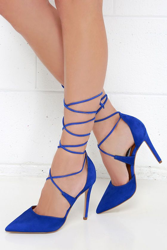 Steve Madden Raela Blue Leather Pointed Lace-Up Heels