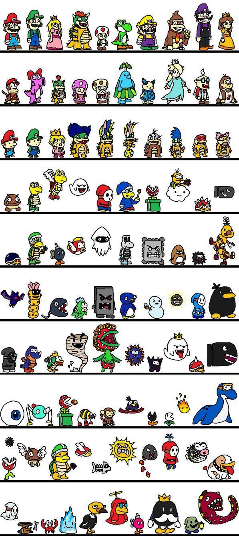 100 Mario Characters Super Mario Bros Mario And Luigi Nintendo