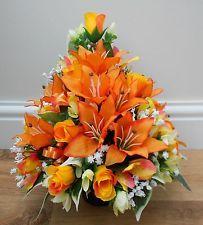 Artificial Silk Flower Arrangement Grave Pot Orange Yellow Rose Alstro Lillies Arts And Crafts