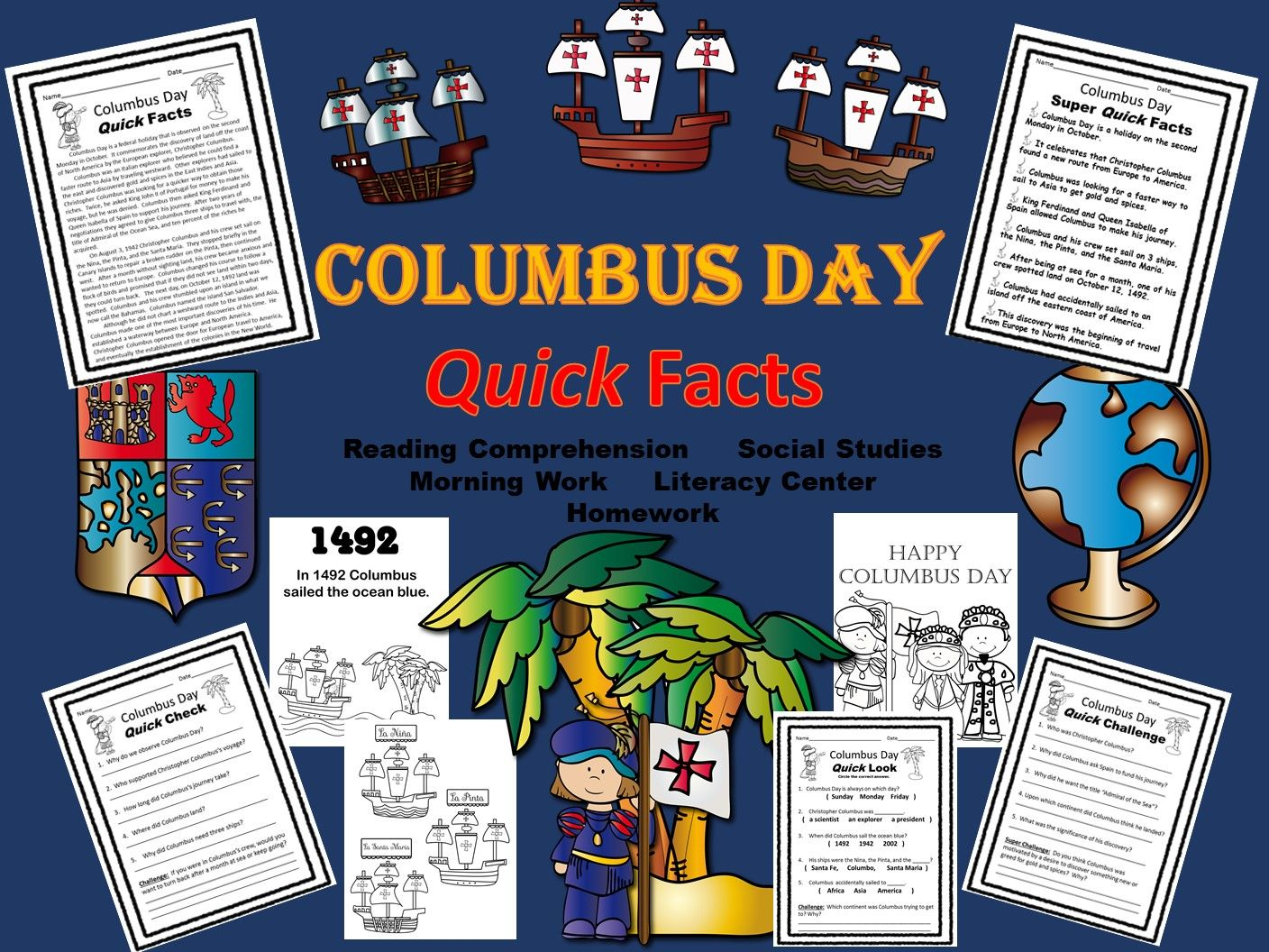 Columbus Day Reading Comprehension Literacy Center Morning Work Or Homework Three Levels Of Instruction To Literacy Centers Reading Comprehension Literacy Columbus day reading comprehension