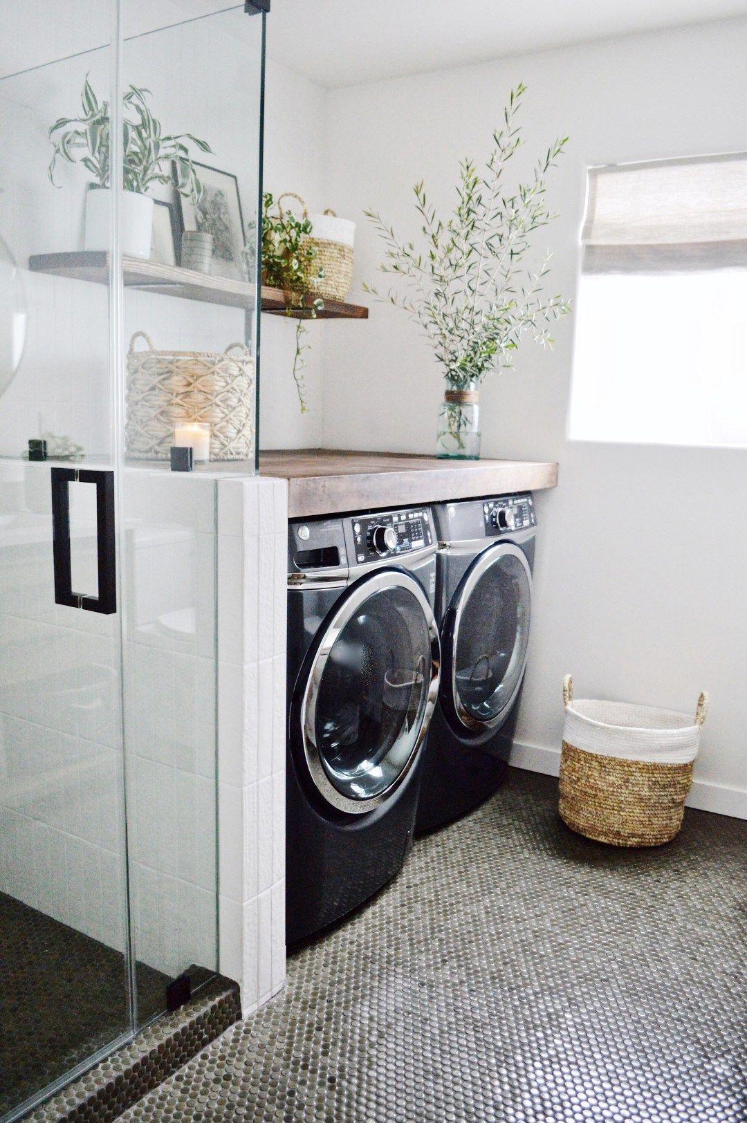 Guest Bathroom Laundry Reveal Kristin Dion Design Laundry Bathroom Combo Laundry In Bathroom Laundry Room Bathroom
