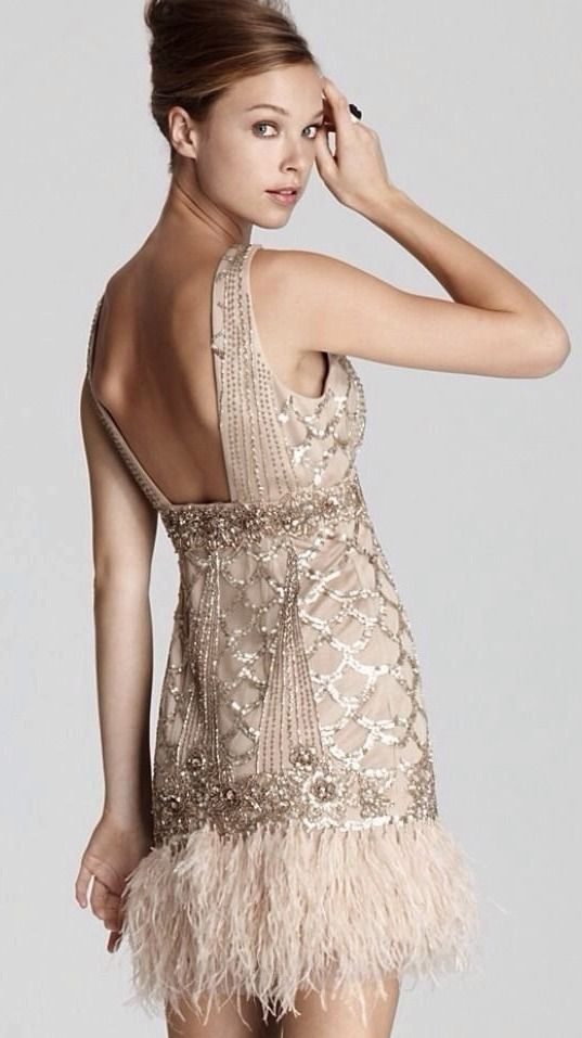 SUE WONG Gatsby Art Deco Champagne Beaded Sequin Feather Evening ...