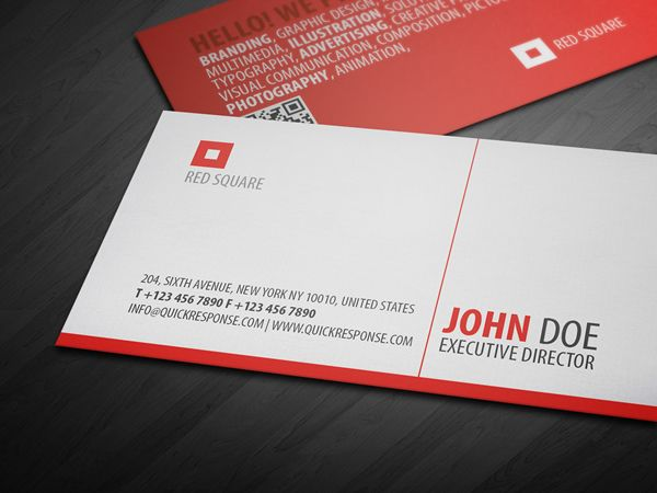 Red square quick response business card is a clean and highly red square quick response business card is a clean and highly detailed textured business card design colourmoves