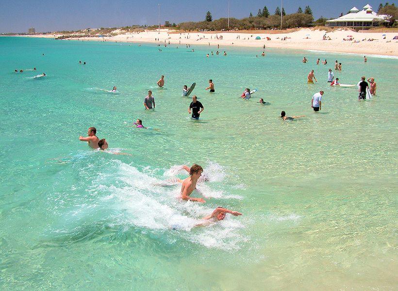 Swimming At City Beach Perth Western Australia