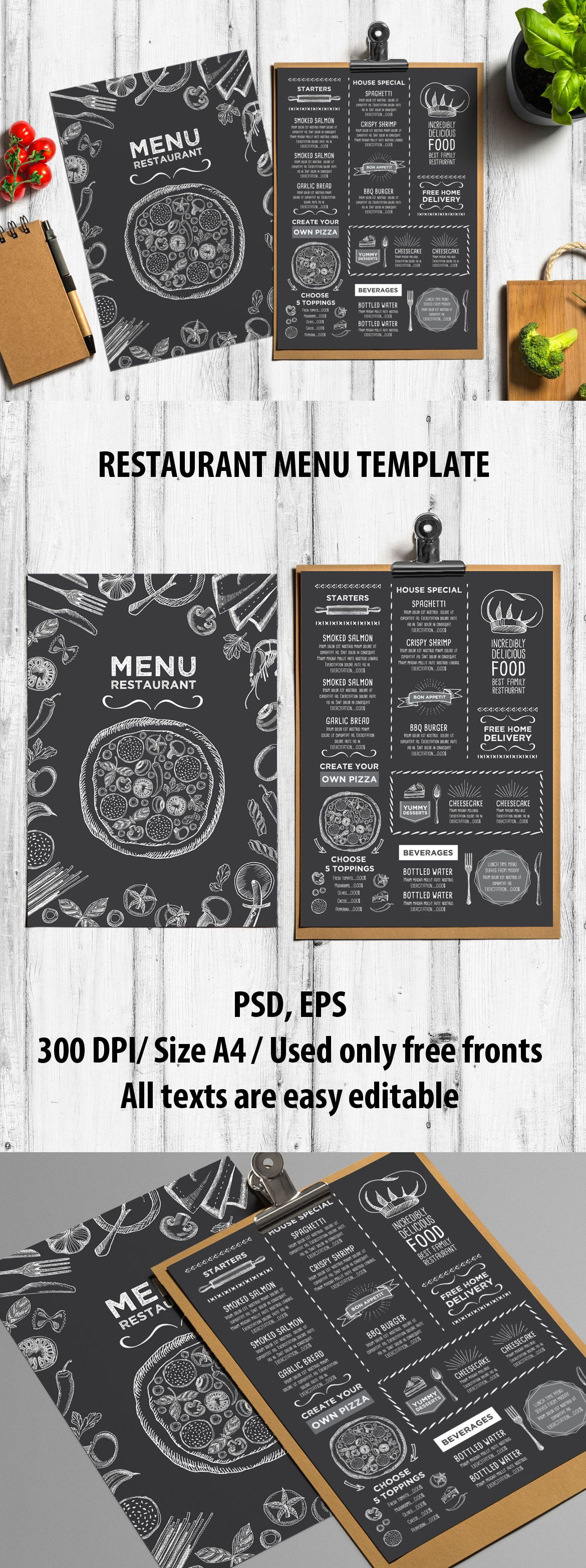 Restaurant Food Menu Template Vector EPS PSD