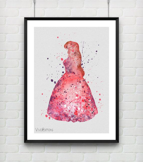 Ariel The Little Mermaid Disney Watercolor Art Print by VIVIDEDITIONS