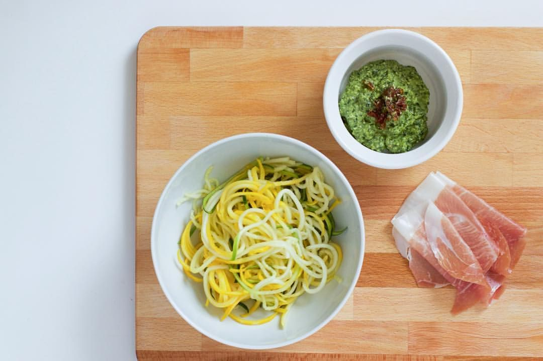 Pesto zoodles 2 cups zucchini zoodlfied 2 tbls pesto (recipe in previous post) 1 tbls sun dried tomatoes chopped 2 slices of prosciutto chopped 1 tbls avocado oil  Sauté the zoodles in a pan with oil on medium high heat for 5 minutes or until they soften. Chop up the sun dried tomatoes and prosciutto and add them with the pesto.