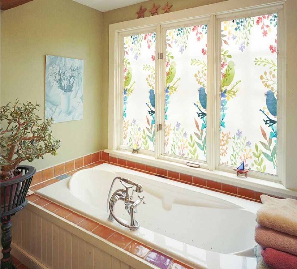 Amazon.com: Beyong Life Color Leaves Happy Birds Romantic Privacy Window  film Glass Stickers