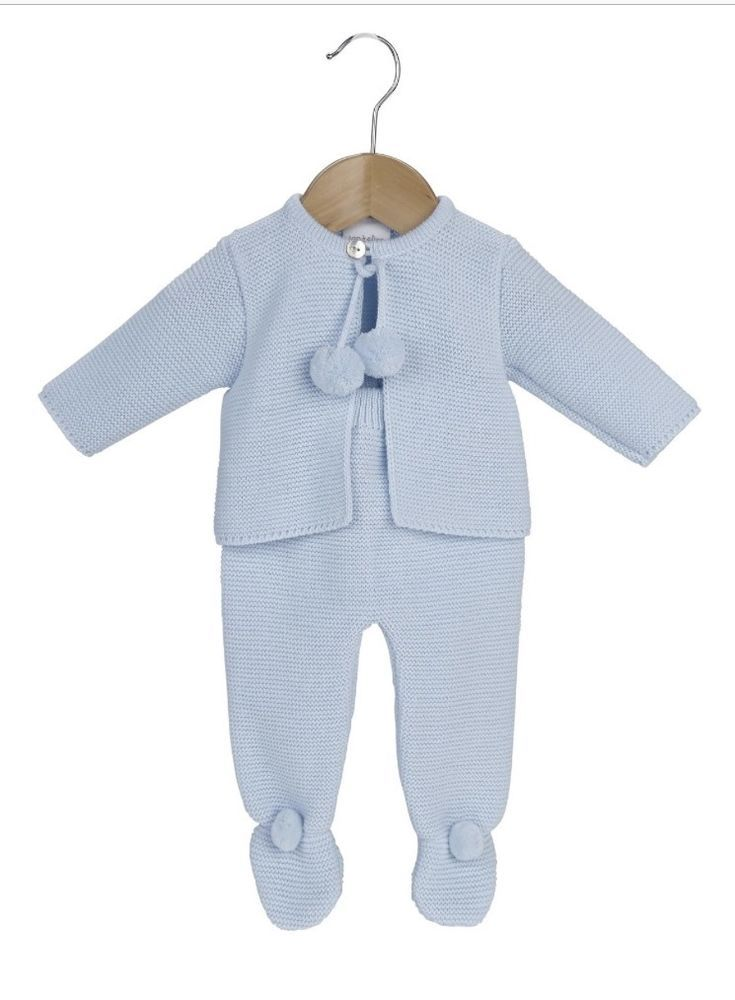 Blue Pom Pom Romper Outfit Spanish Style Baby Boys Knitted Grey