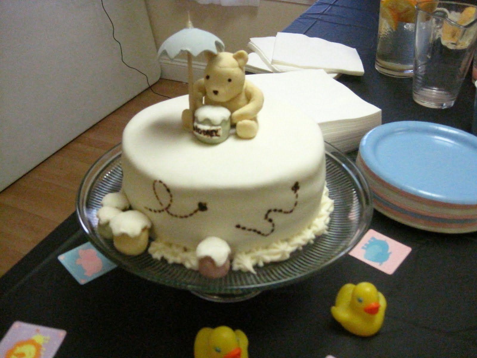 Classic Winnie The Pooh Baby Shower Cake