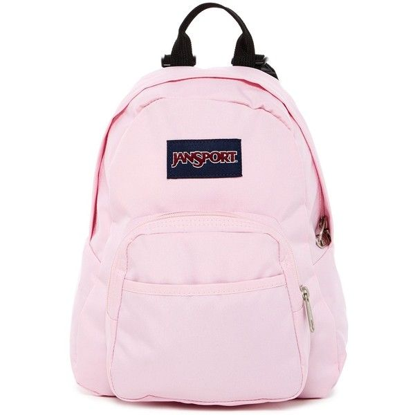 JANSPORT Pink Mist Half Pint Mini Backpack ($25) ❤ liked on Polyvore featuring bags, backpacks, pink mist, pink mini backpack, backpack bags, jansport bags, zip top bag and miniature backpack