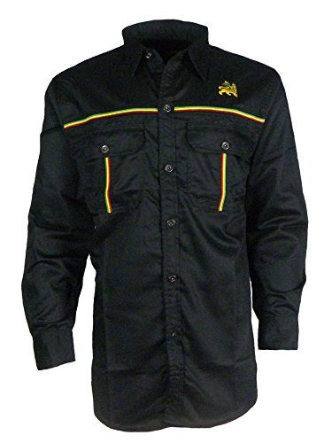 8fd52a4540f Mens Rasta Shirt Long Sleeves Full front Button Closure (X-Large