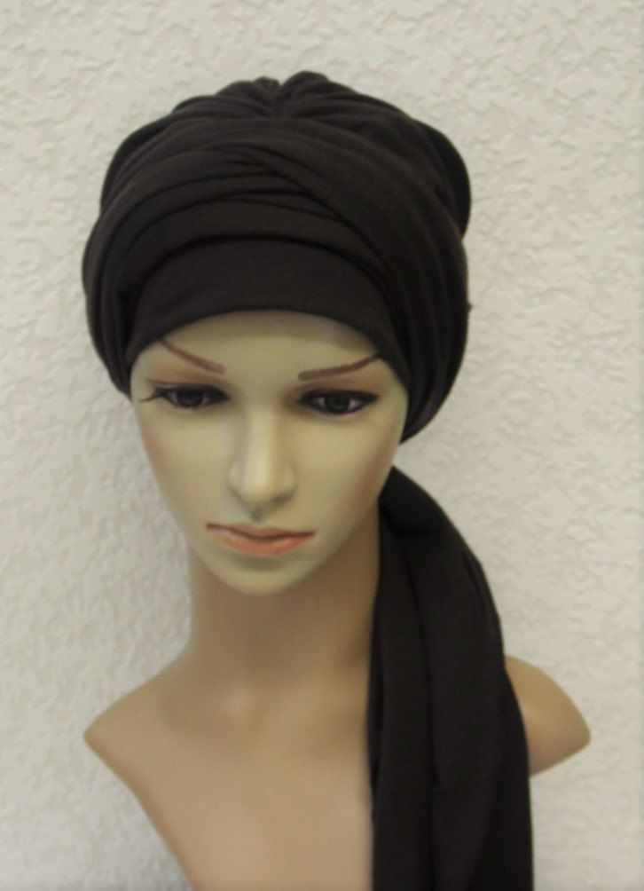 full head covering Turban with long ties volume turban hat viscose jersey hat