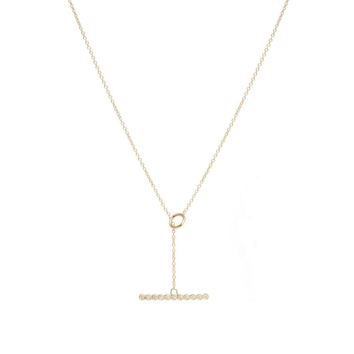 14k Horizontal Diamond Bezel Bar Toggle Necklace Toggle Necklace Bezel Diamond Necklace
