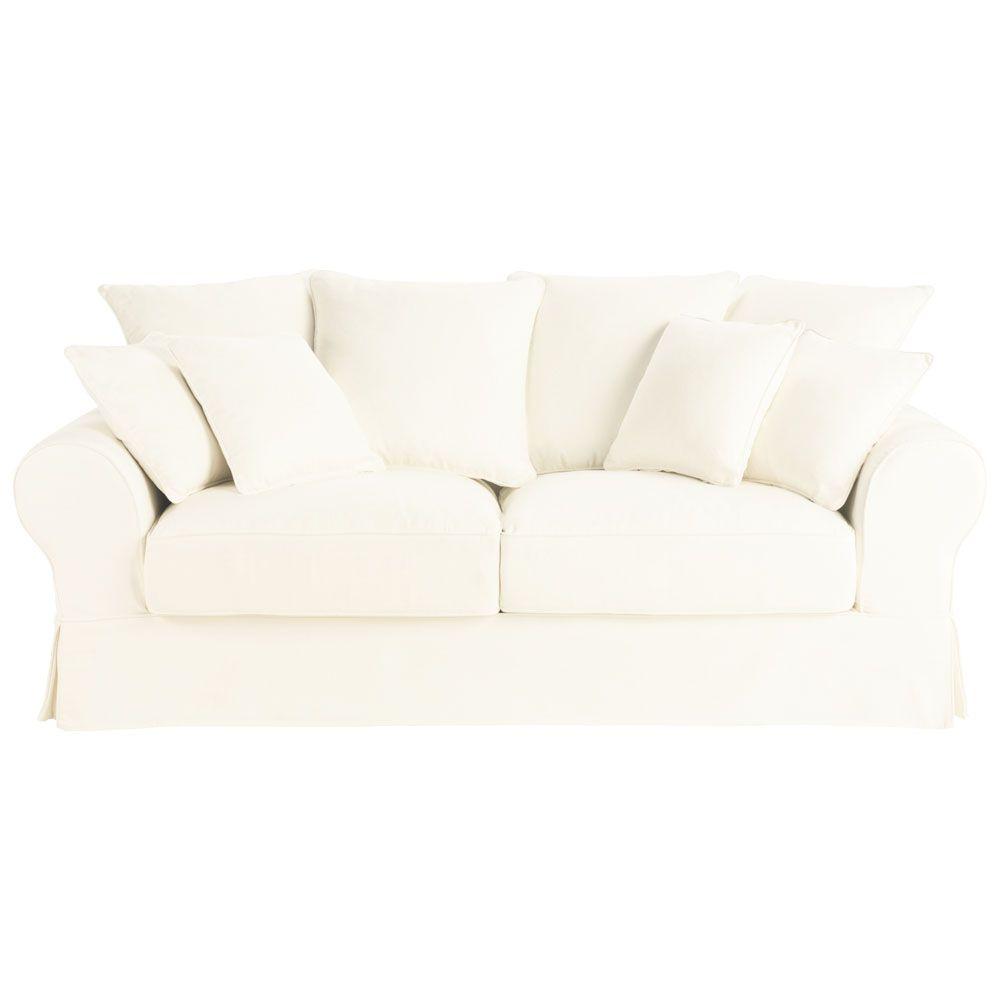 Sofá cama 3 plazas algodón marfil Bastide - Maisons du Monde