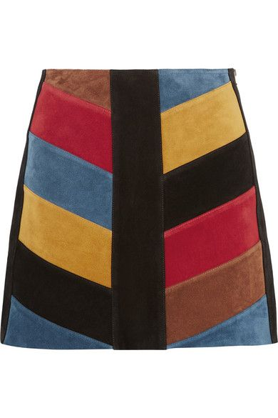 fe5d7cffc4 M.I.H JEANS Chevron Patchwork Suede Mini Skirt. #m.i.hjeans #cloth #skirts