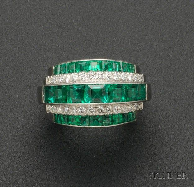 "Platinum, Diamond and Emerald ""Stepped-up"" Ring, Raymond Yard"