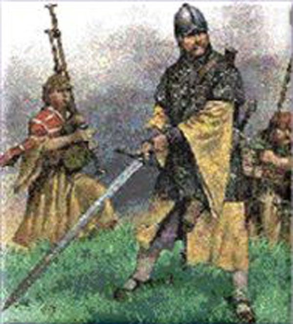 Gallowglass Armed With Claymore In The Foreground With