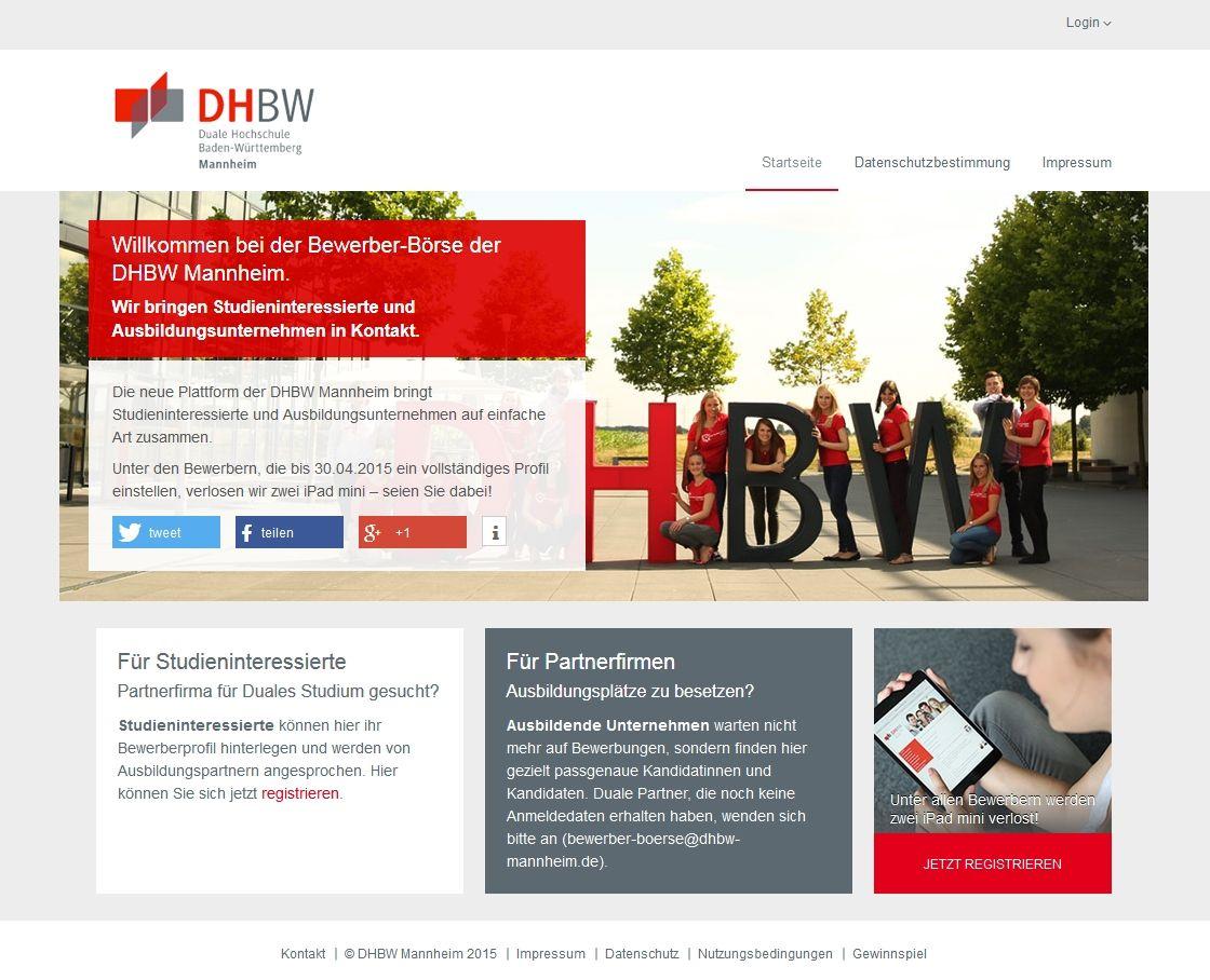 Bewerber-Börse DHBW Mannheim - Startseite   Projekte   Pinterest