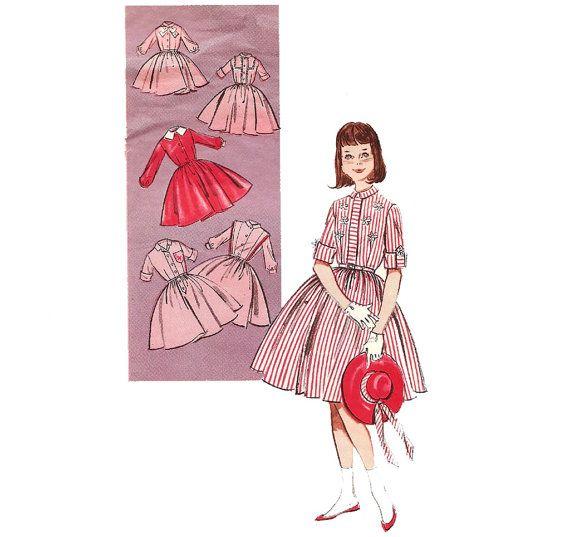 1960s Girls Shirtdress - Butterick 9161 Vintage Pattern - Size 8 on Etsy, $7.00