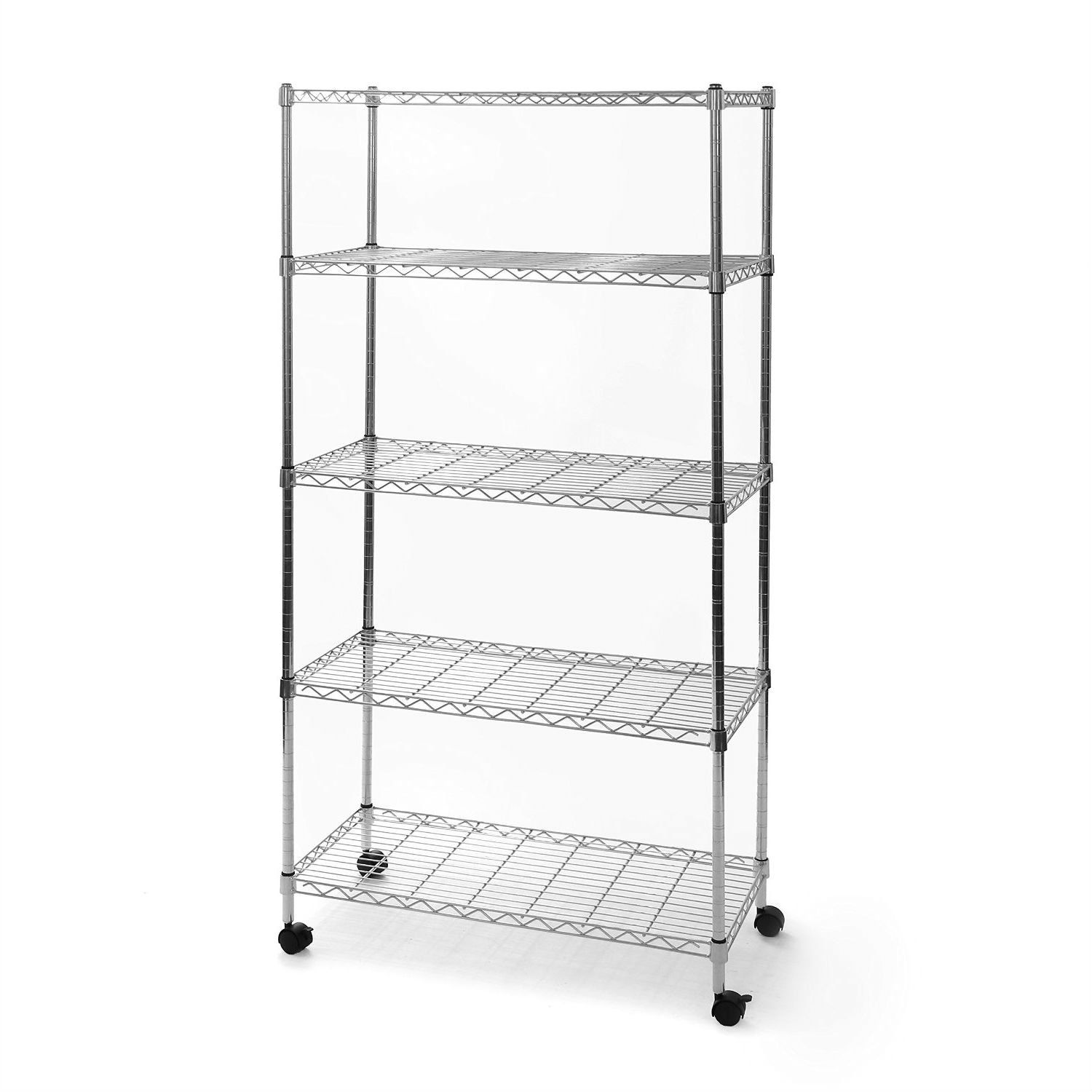 5-Shelf Storage Shelving Unit with Removable Locking Casters Wheels ...