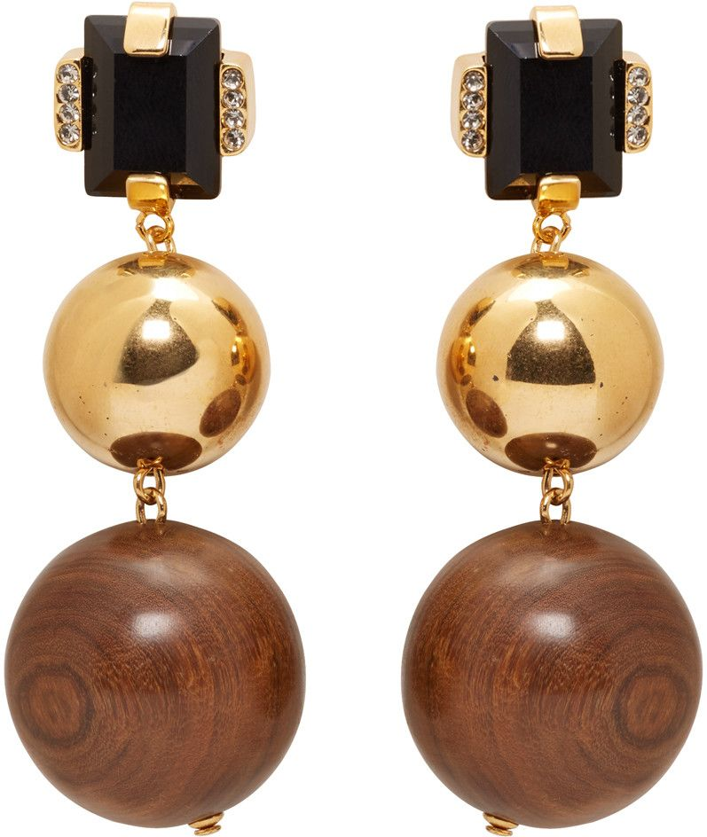 Marni - Gold Stone   Wood Clip-On Earrings   Baubles   Pinterest ... 25bd9b5c7a