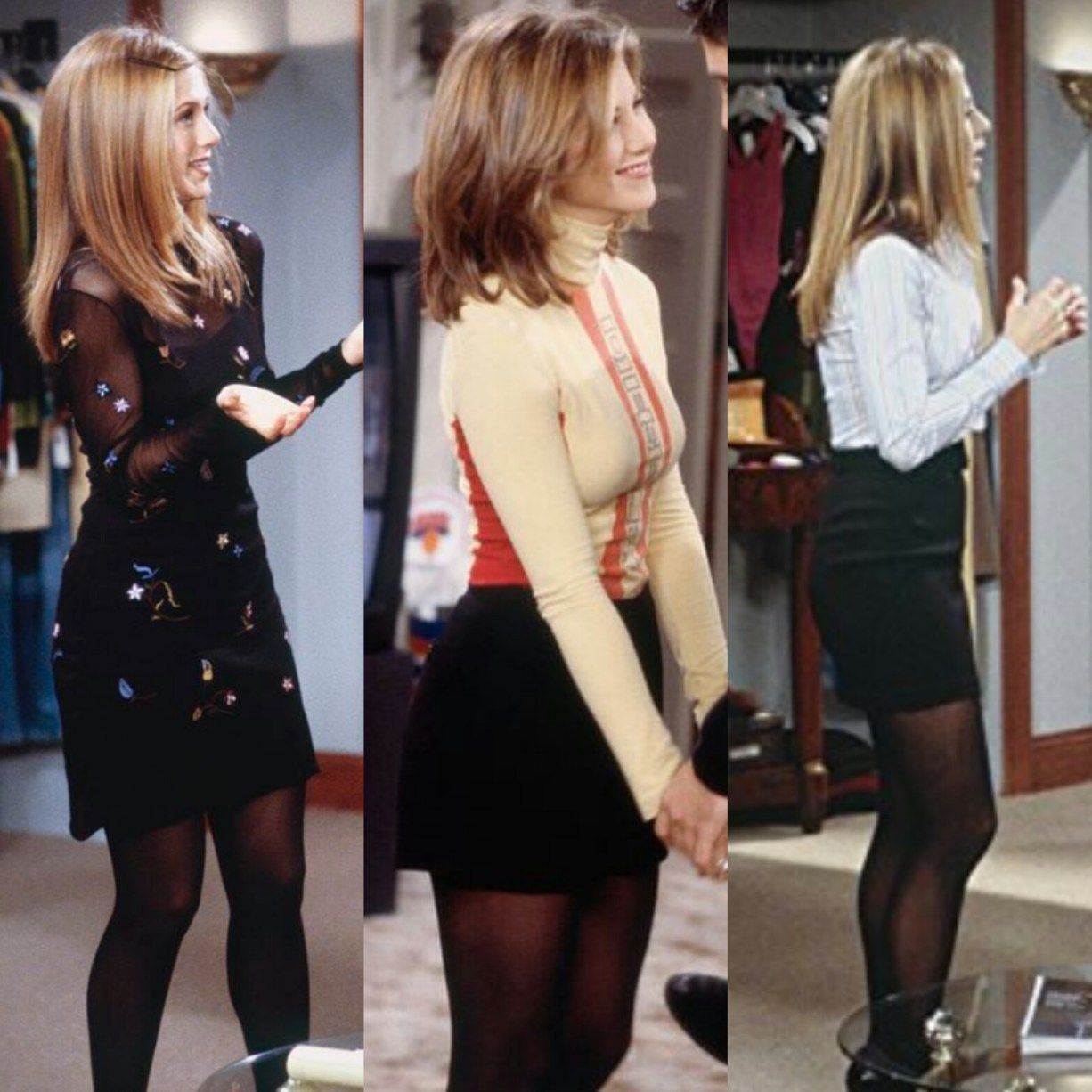 Stockings Rachel Green Outfits Outfit Inspirations Edgy Rachel Green Style [ 1226 x 1226 Pixel ]