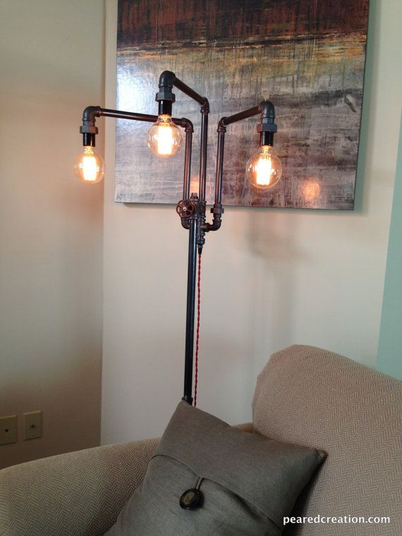 Adjustable Floor Lamp   Industrial Furniture   Multiple Edison Bulbs   Sofa  Lamp
