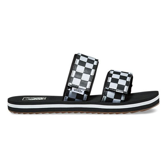 b633492a1c5 Vans Checkerboard Cayucas Slide features synthetic leather straps with the  iconic checkerboard print and hook-and-loop adjustability  women-fashion ...
