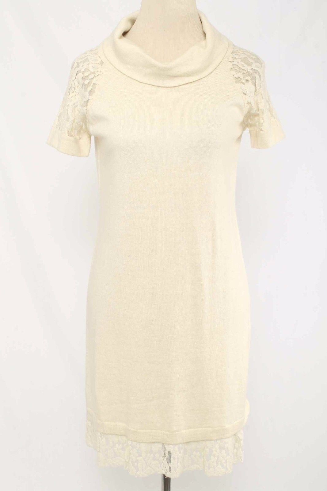 Cool great chelsea u violet size m cream turtleneck sweater dress