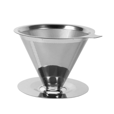 New Double Layer Stainless Steel Pour Over Cone Dripper Reusable Coffee Filter
