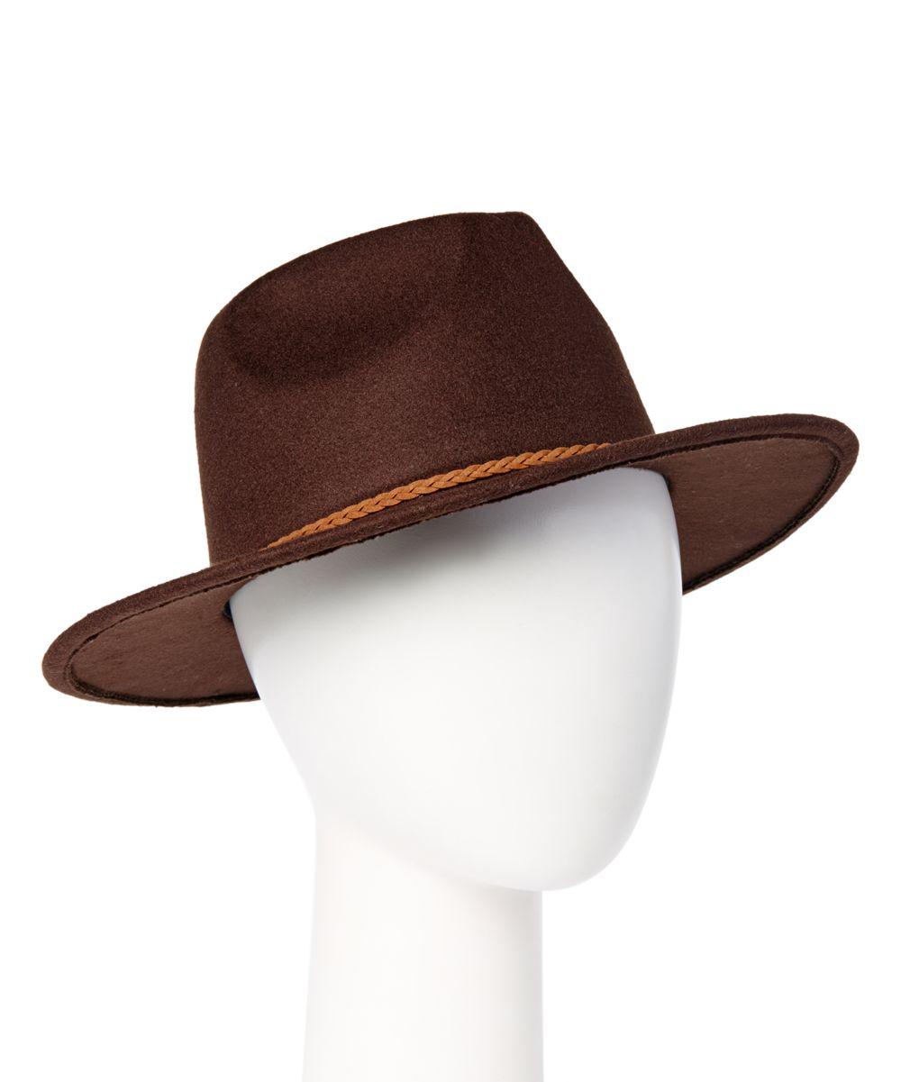 3d9dbb85d8c Chocolate Braided-Band Large Brim Hat