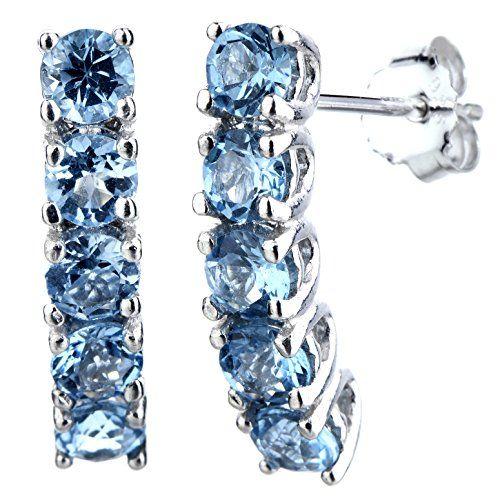 Sterling Silver 5 Stone Blue Topaz Earrings (1.75 CT)