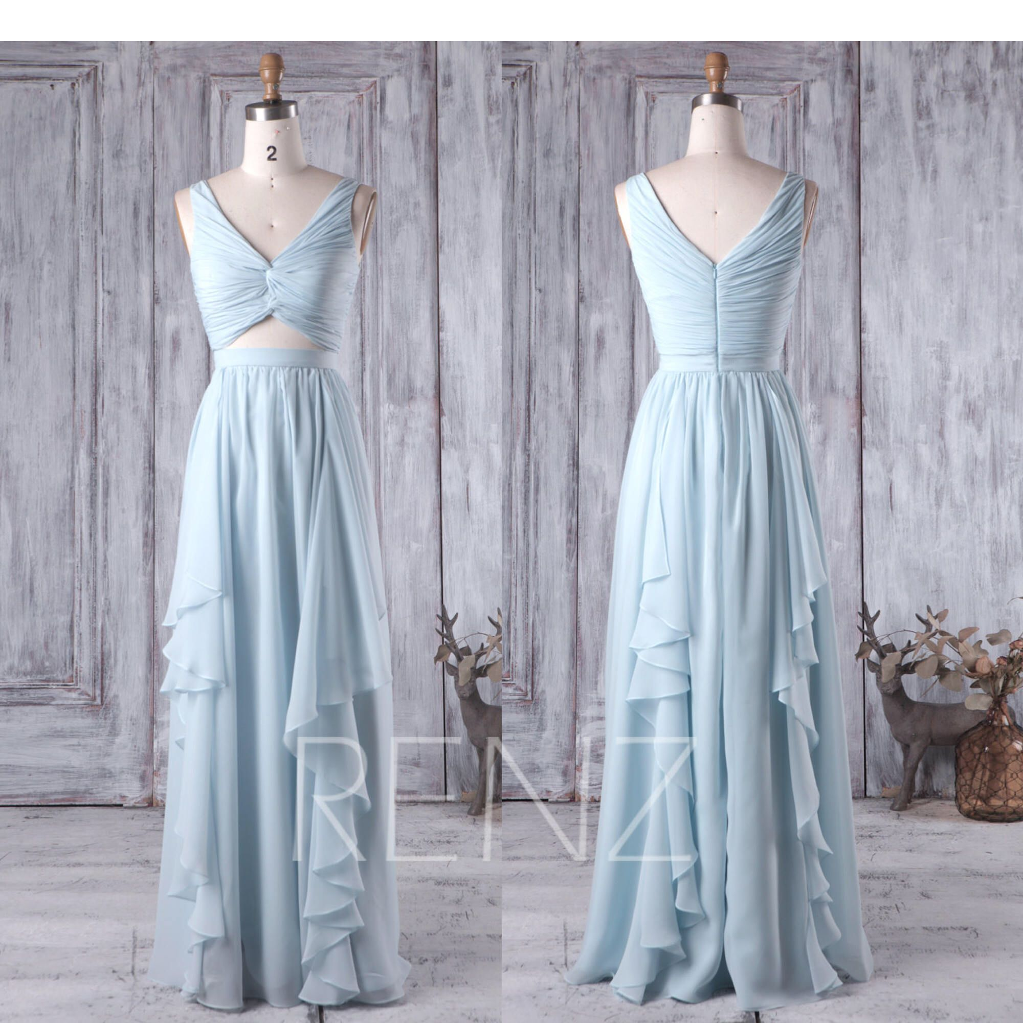 light blue bridesmaid dress v neck wedding dress long chiffon