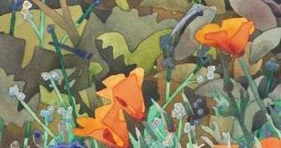"Blue Note Poppies, 15"" x 11""   Carolyn Lord has a very direct manner of painting shape-to-shape that was influenced by a George Post worksh..."