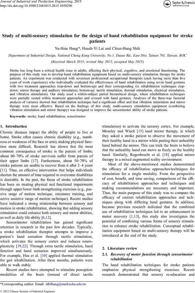 ARTICLE] Study of multi-sensory stimulation for the design