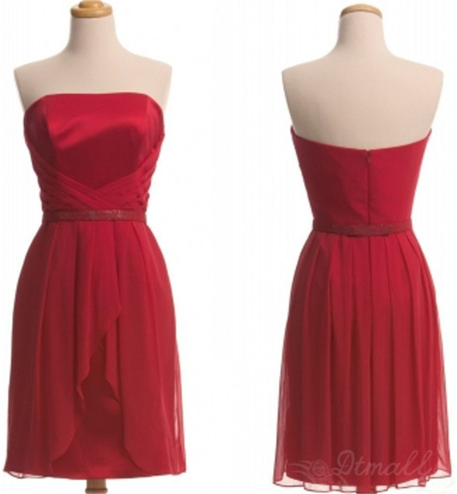 Red strapless chiffon bridesmaid dress short prom dress spd on