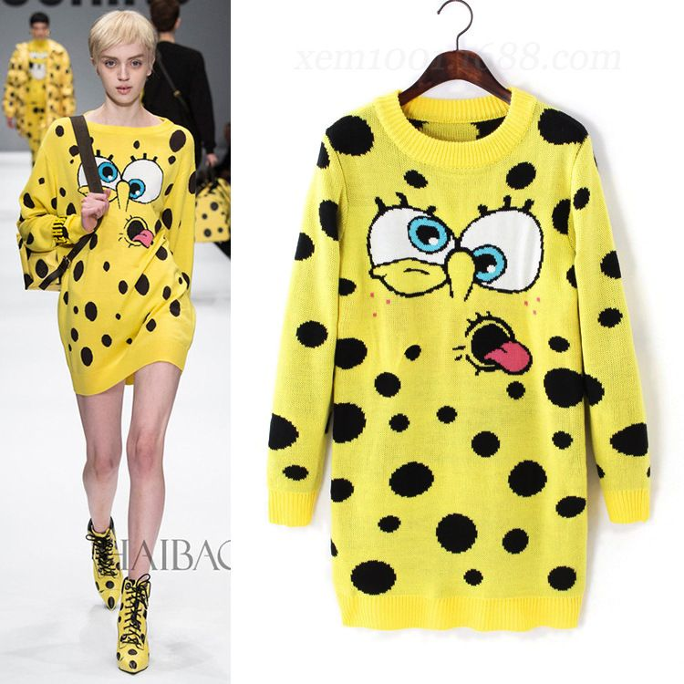 Cheap dresses first holy communion, Buy Quality dress preservation directly from China sweater dress plus size Suppliers: Europe and the United States the new 2016 knitting cute cartoon spongebob dress sweater dressUSD 29.44/pieceEurope and t