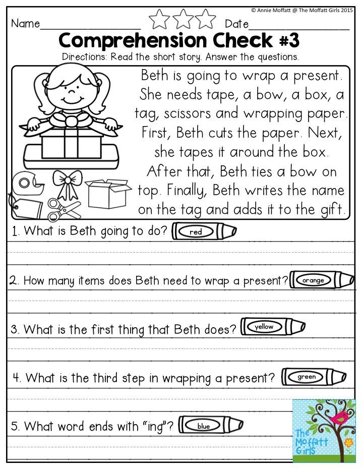 Reading Comprehension Checks Short stories and questions to – Writing Checks Worksheet