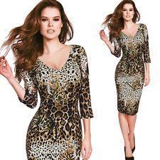 Para Mujeres Estampado de Leopardo Gato Sexy Escote en V Vestido Tubo Club Fiesta Informal Ajustado 4073