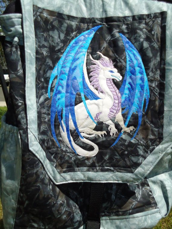Held for Lisa Turquoise Dragon Quilted Backpack by KnottyCovers ... : crazy quilt dragon - Adamdwight.com