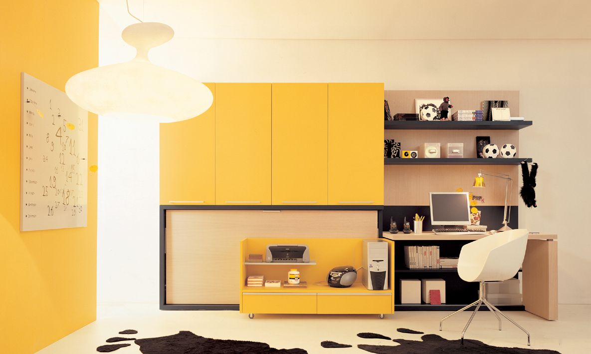 Funny Yellow Themes Bedroom Shelving Decoration and Yellow Cabinet ...