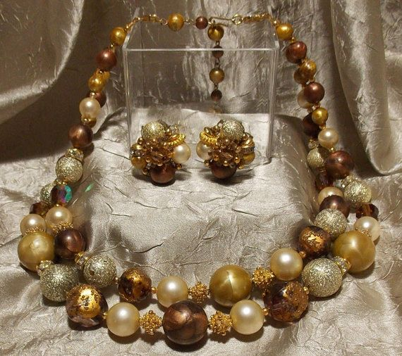 Vintage Deauville Beaded Necklace Earrings Set by TheEclecticDiva,