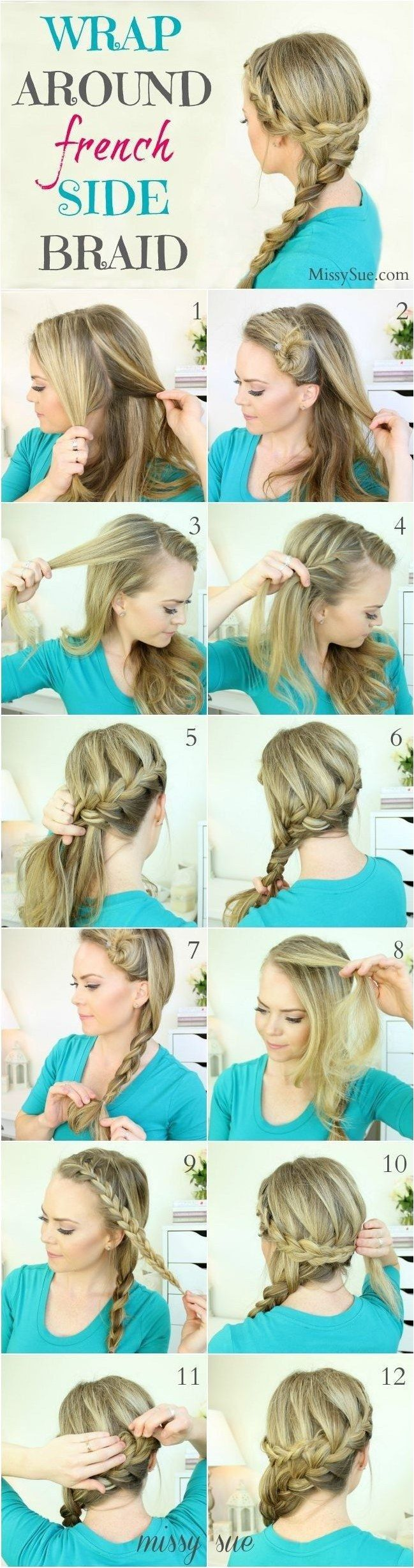 Wrap around french side braid hairstyle tutorial hairbraids