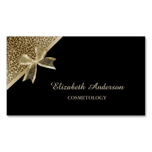 An elegant black and gold cosmetology business card with a trendy gold leopard print and a chic gold sheer ribbon tied into a girly bow. Personalize this classy animal print business card by adding the name of the cosmetologist or professional makeup artist. Flat printed image, not actual ribbon.