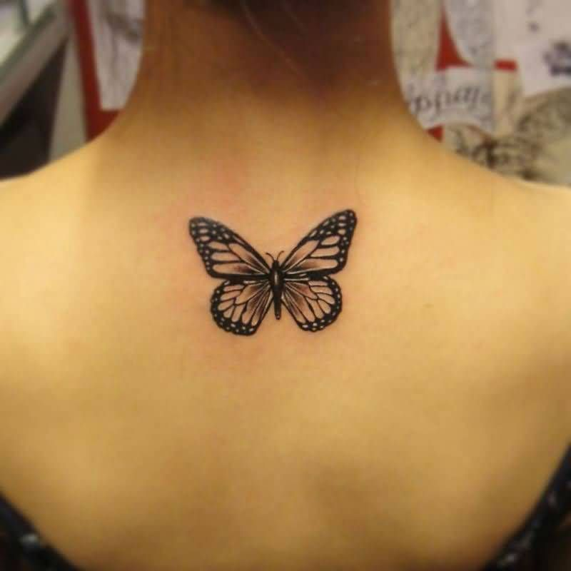 8ddd9c14d137b Black Ink Butterfly Tattoo On Women Upper Back - Back Tattoos For Women Back  Of Thigh Tattoo Women Classy Tattoos For Women Amazing Tattoos For Women  Back ...