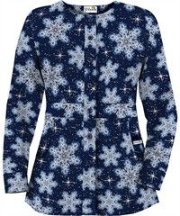 UA Let It Snow Navy Print Scrub Jacket