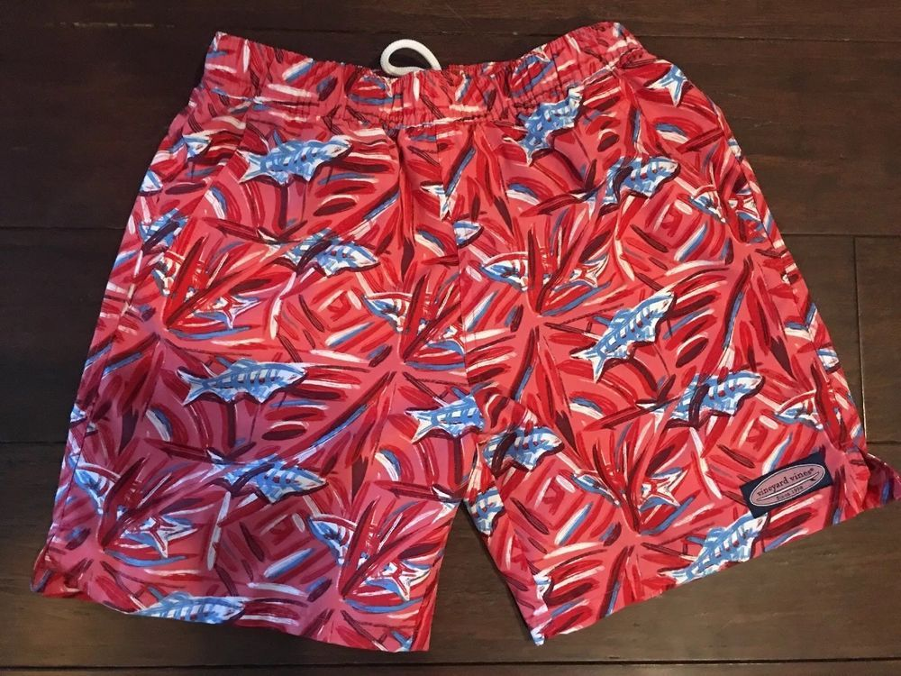 2e9f5ca4bb VINEYARD VINES Boys Swim Trunks Small 8-10 Elastic Waist Drawstring Red  FISH #fashion #clothing #shoes #accessories #kidsclothingshoesaccs ...