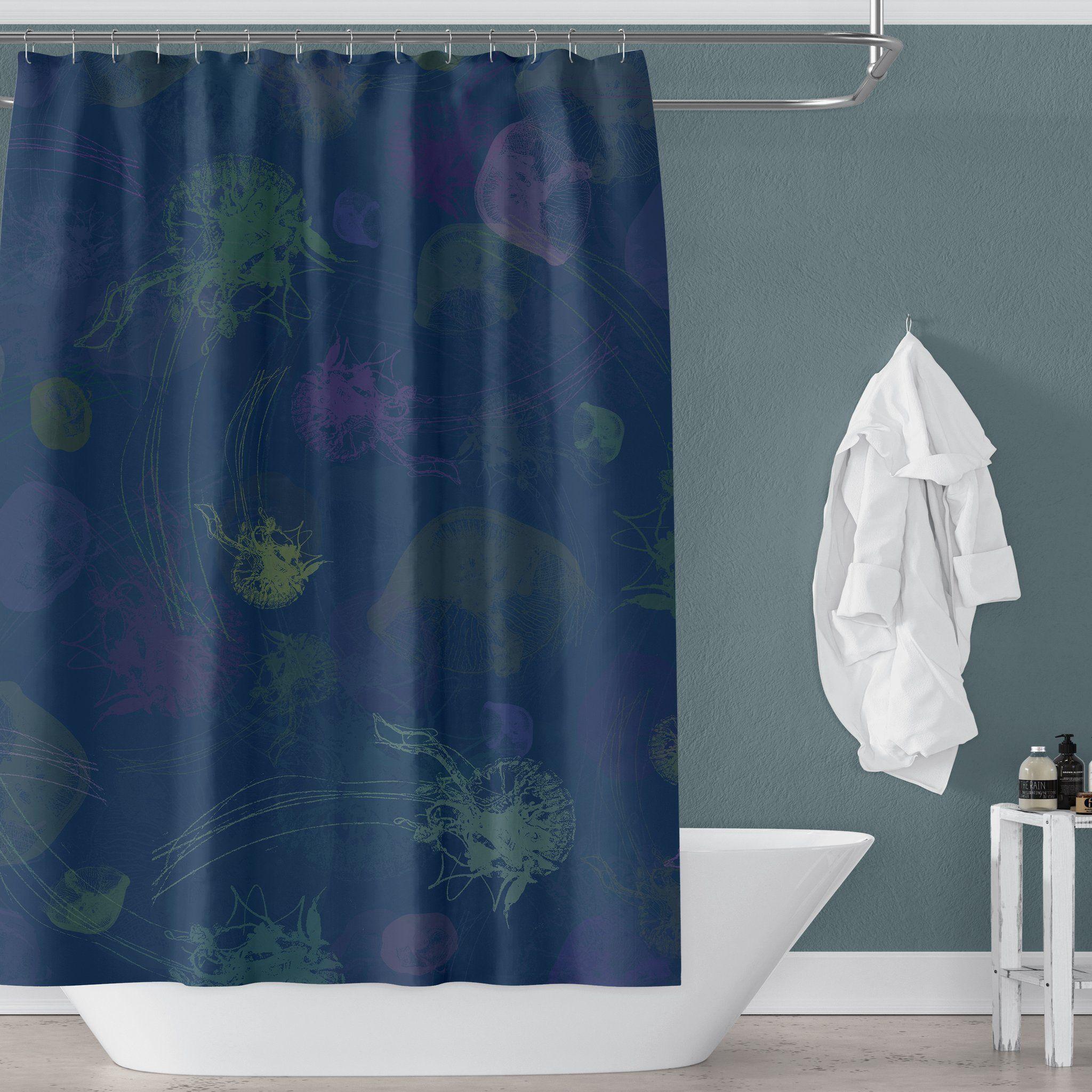 Blue Jellyfish Shower Curtain For Kids Ocean Bathroom Printed