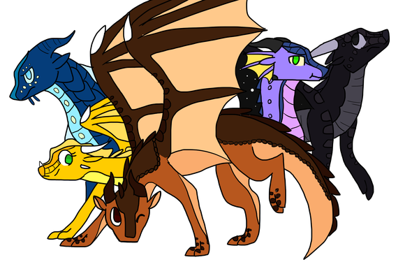 Clay the Mudwing, Tsunami the Seawing, Glory the Rainwing, Starflight the Nightwing, and Sunny the Sandwing as the Dragonets of Destiny